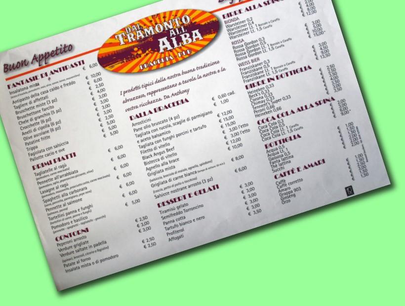 tovaglietta menu per ristorazione 35x50